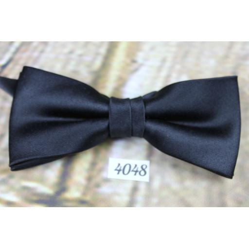 Vintage Classic Black Satin Pre-Tied Bow Tie Adjusts To Fit All Sizes