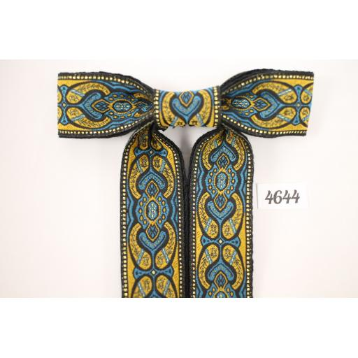 Vintage Style New Black, Blue & Metallic Gold Clip On Western/Cowboy/Kentucky Bow Tie (1)