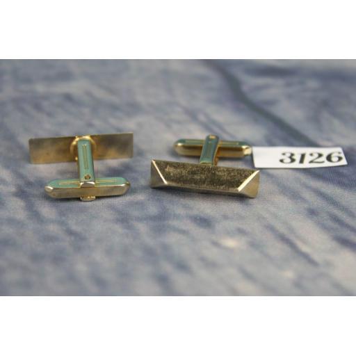 Vintage Made In USA Gold Metal Bar Cufflinks