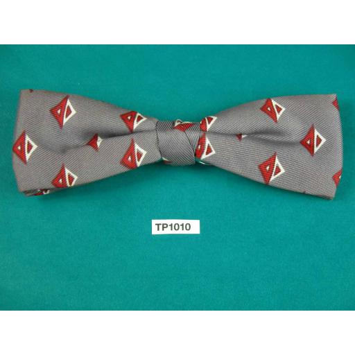 Vintage Grey Claret & CreamSquare Repeat Pattern End Clip On Bow Tie