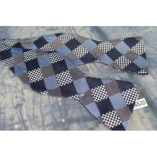 Superb Stafford Squares Pattern Navy Grey & Blue Self Tie Square End Thistle Bow Tie