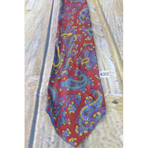 "Superb Vintage 1940s/1950s Ancient Madder Burgundy Green Blue Gold Tie 3.5"" Wide"