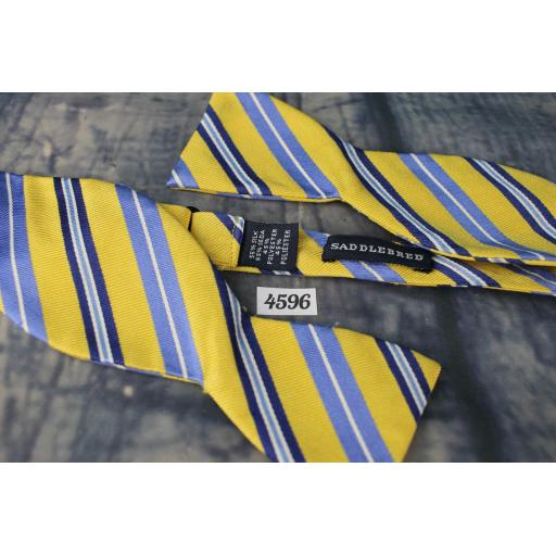 Saddlebred Part Silk Straight End Thistle Bow Tie Yellow, Blue & Navy Broad Stripe