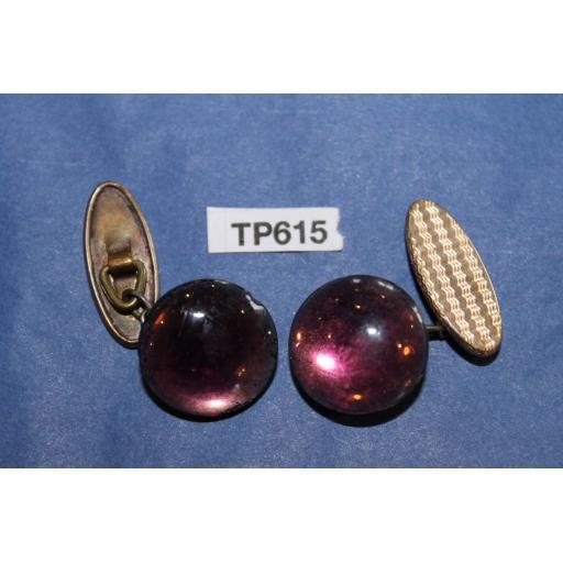 Vintage Gold Metal Cuff Links Purple Glass Moonstones