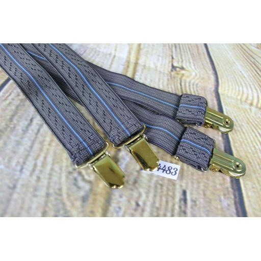"""Grey and Blue Elasticated Braces Gold Metal Clips Adjustable Length 1"""" Wide"""