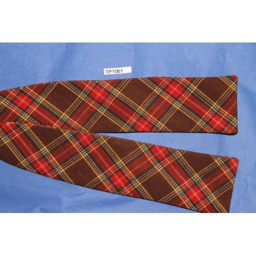 Vintage Self Tie Bow Tie Straight End Red Brown Tartan