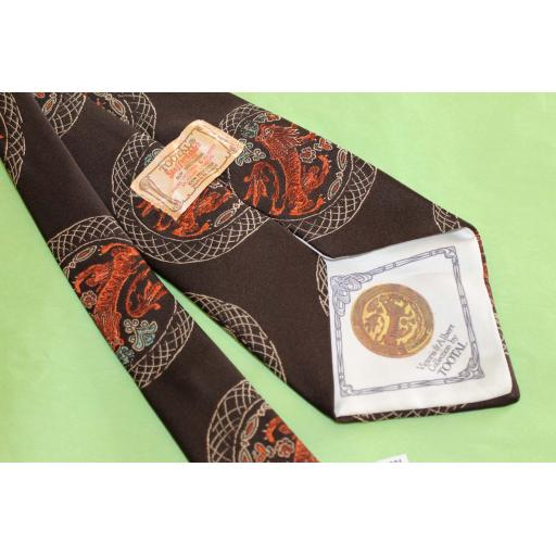 """Vintage Retro Victoria & Albert Museum Collection By Tootal 1970's Wide Kipper Tie Brown Copper 4.75"""" Wide"""