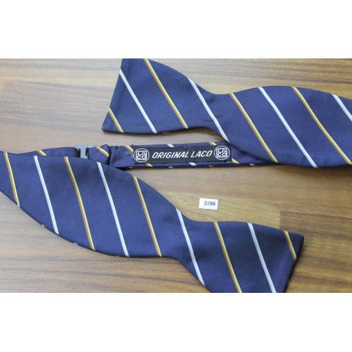 Vintage Original Laco Self Tie Bow Tie Straight End Thistle Navy Gold Ivory Stripe
