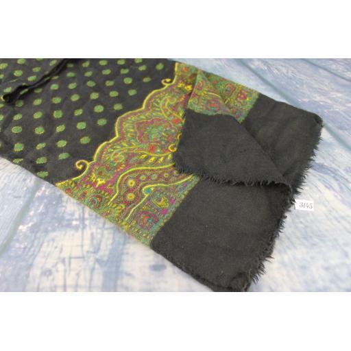 Vintage Hand Blocked Print Pure Wool Black Green & Gold Scarf
