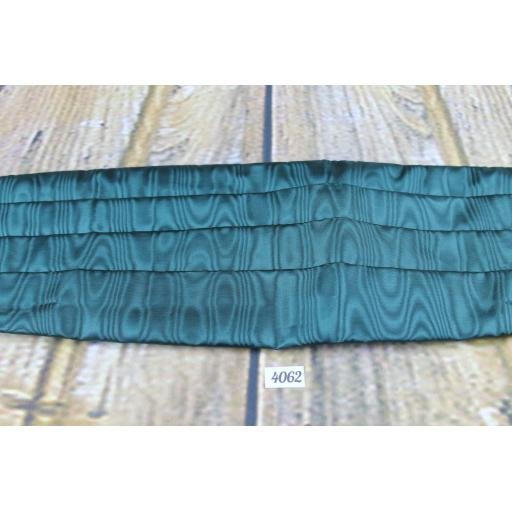 Green Satin Adjustable With Velcro Pleated Cummerbund
