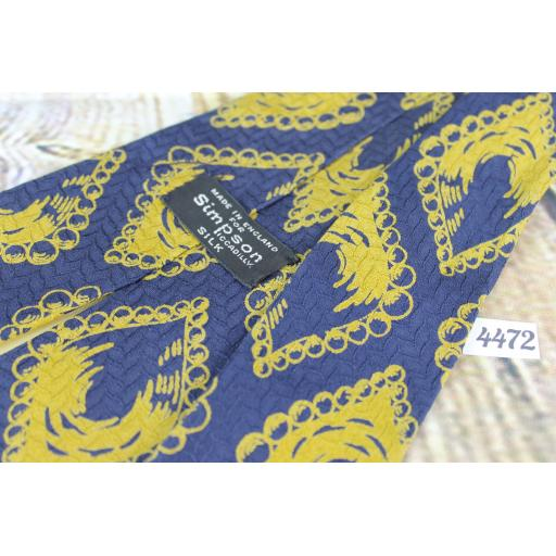 """Vintage Simpsons of Piccadilly Gold and Blue Silk Tie 4"""" Wide"""