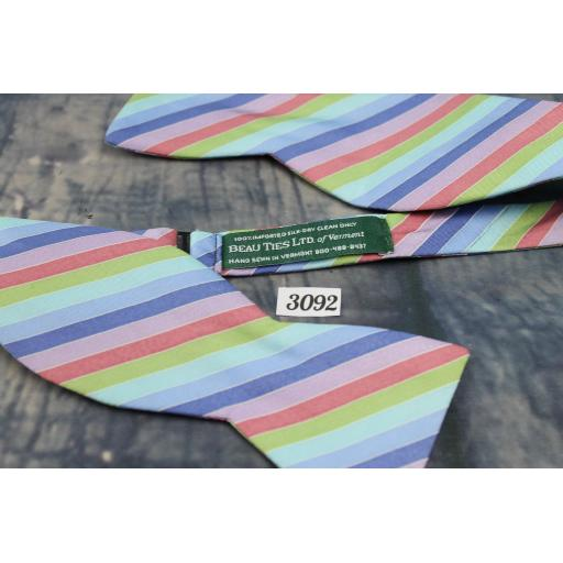Beau Ties LTD 100% Silk Self Tie Bow Tie Straight End Thistle Pastel Striped