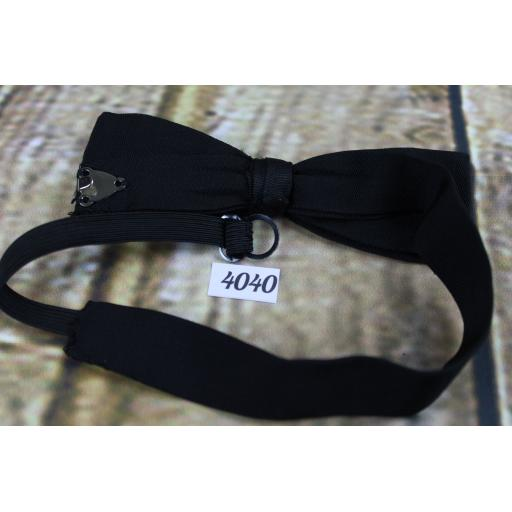 Vintage Classic Black Grosgrain Pre-Tied Bow Tie Adjusts to Fit All Sizes
