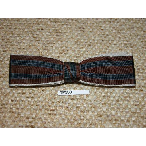 Vintage Clip On Square End Bow Tie Brown Navy & Black Stripes Over Stone