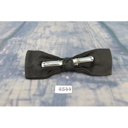 Vintage Classic Black Grosgrain Double Bow Square End Clip On Bow Tie