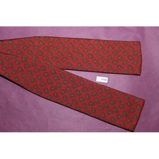 Vintage Saks Fifth Ave 100% Silk Self Tie Straight End Bow Tie Burgundy & Olive Paisley