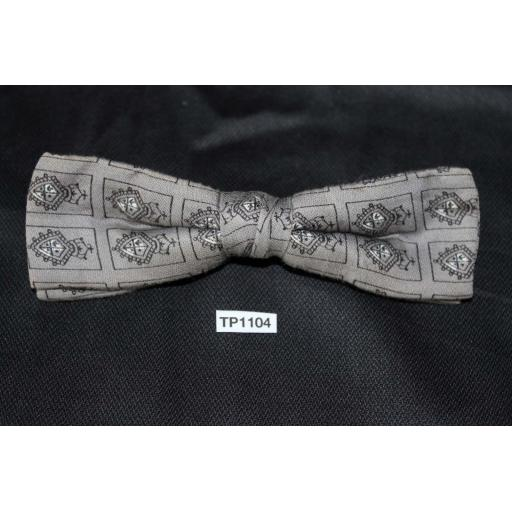 Vintage & Black Repeat Pattern Square End Clip On Bow Tie