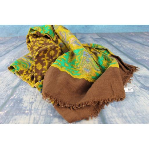 Vintage  Hand Blocked Print Pure Wool Brown Green & Gold Scarf