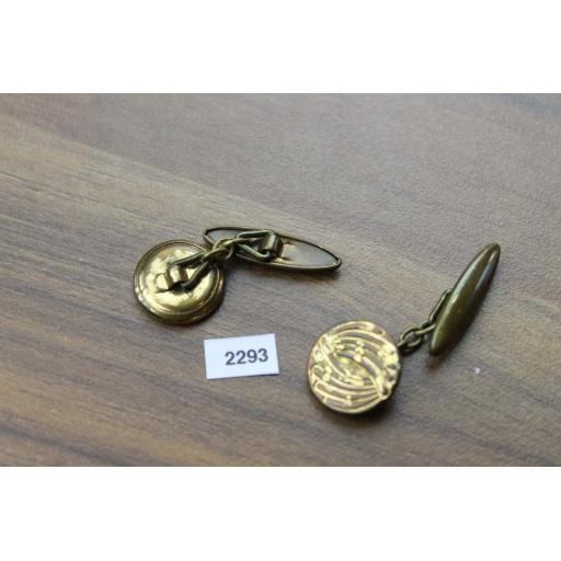 Vintage Ribbed Gold Metal Round Chain Connect Cuff Links 1950s