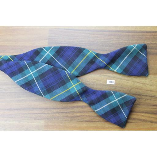 Vintage Silk/Wool Poplin Self Tie Straight End Thistle Bow Tie Green Blue Plaid Tartan