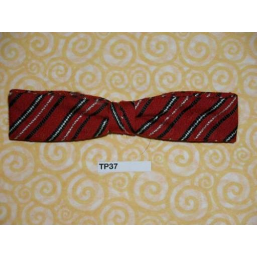 Vintage Clip On Bow Tie Narrow Red/Black/White Stripe
