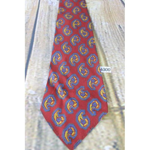 "Superb Vintage 1940s/1950s Arrow Burgundy Blue Gold Pattern Tie 4"" Wide Lindyhop/Swing/Zoot Suit/Rat Pack"