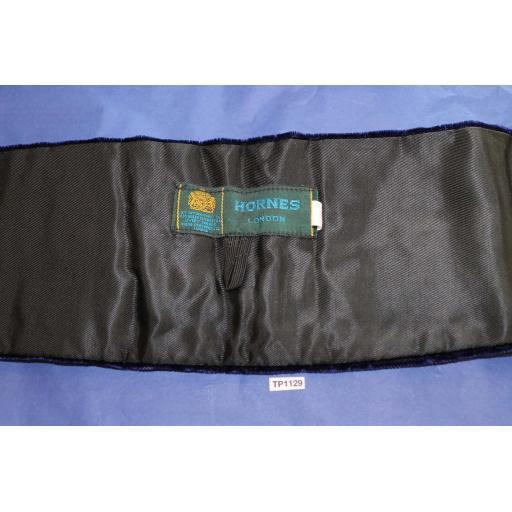 Hornes London Royal Blue Crushed Velvet Adjustable Pleated Cummerbund Large