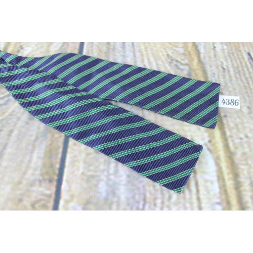 Vintage Keys All Silk Self Tie Adjustable Straight End Paddle Bow Tie Navy & Green Striped