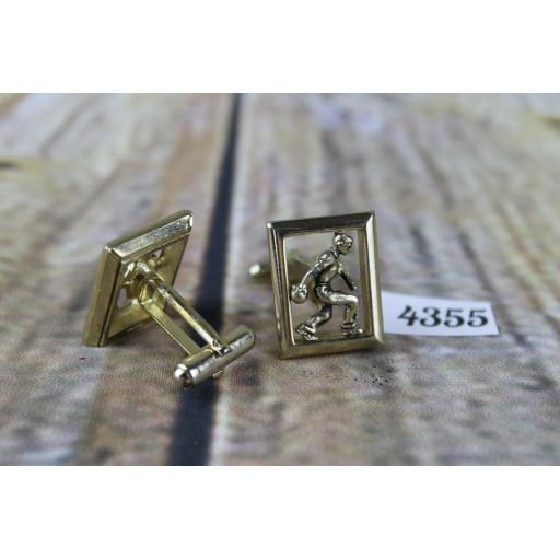 """Gold Metal Figure Playing Bowls In Frame Cuff Links Ten Pin or Crown Green 7/8"""" x 5/8"""""""