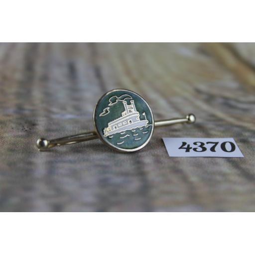 Vintage Gold Metal & Green Enamel Paddle Steamer Boat Collar Clip Bar Rare