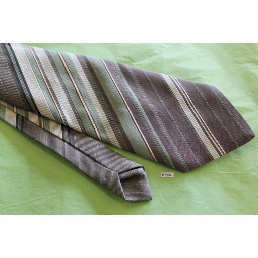 """Vintage Retro Tootal 1970's Wide Kipper Tie Mint Green & Grey Stripe 4.75"""" Wide!"""