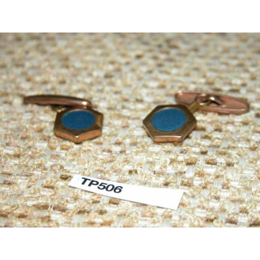 Vintage 1940s/50s Gold Metal And Blue Enamel Cuff Links