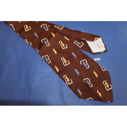 "Superb Vintage 1940s/50s Hut Appleskin Twill Tie 4.5"" Brown Gold Blue Patterned Lindyhop/Swing/Zoot Suit/Rat Pack"