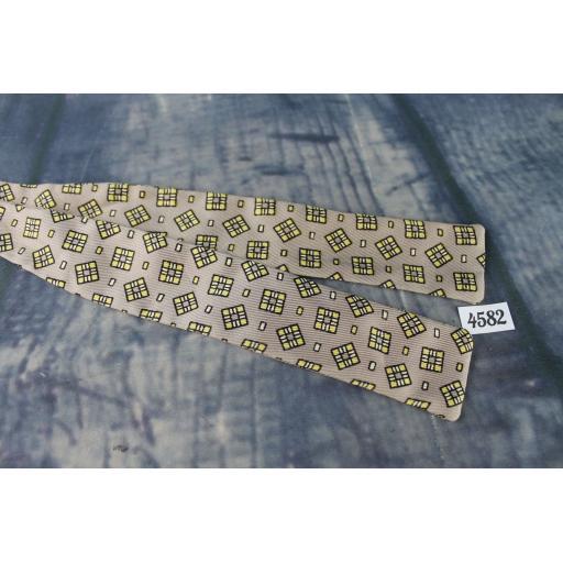 Superb Vintage Taupe, Gold & Black Self Tie Square End Skinny Bow Tie