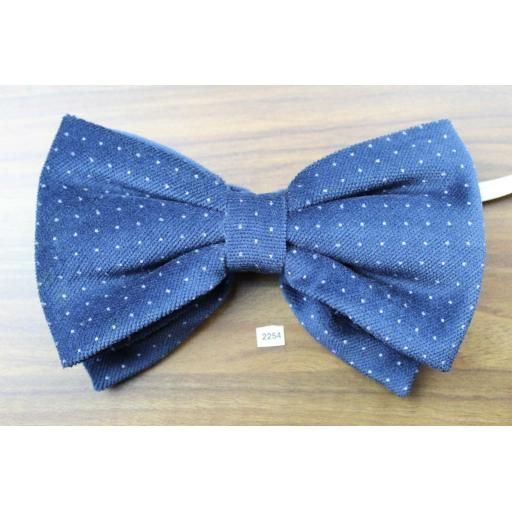 Vintage 1970s Pre-Tied Bow Tie Blue Polka Dot Velvet Adjustable Collar Size