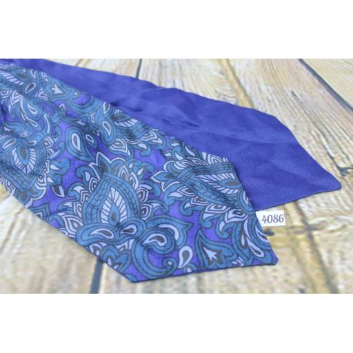 Vintage Grosvenor By Tootal Blue Green Paisley Tricel Cravat Retro Mod