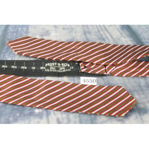 Superb Vintage Grey Green Red Striped Self Tie Arrow End Straight Bow Tie