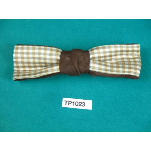 Vintage Boy's Ivory & Tan Check Over Brown Double Bow Square End Clip On Bow Tie