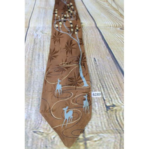 Superb Vintage 1940s/1950s Imperial Croyoon All Silk Deer & Woodland Blue & Brown Jacquard Tie