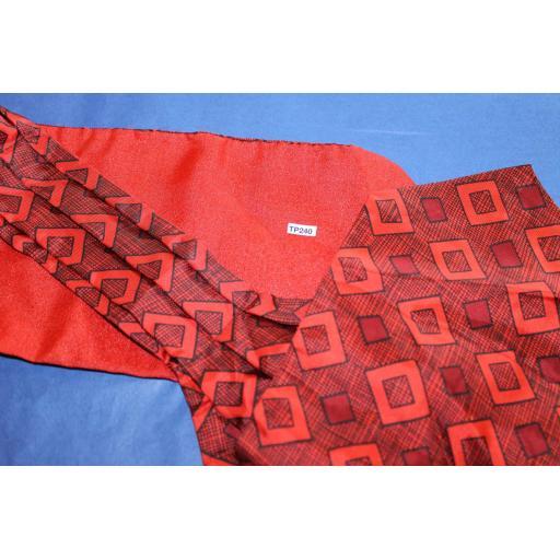 Vintage Red/Black Patterned Cravat Retro Mod