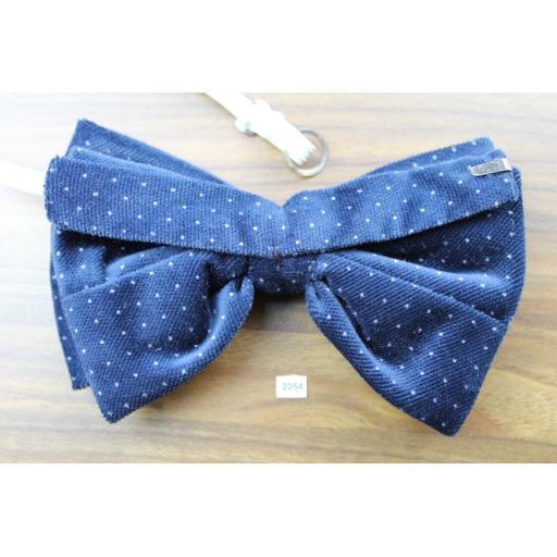 Vintage 1970s Pre-Tied Bow Tie Blue Polka Dot Velvet Adjustable Collar Size