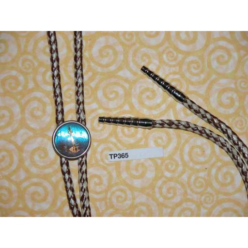 Western/Cowboy Bolo Tie Vintage Space NeedleToggle & Silver Metal Aiglets