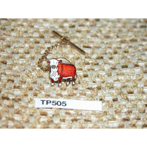 Vintage Enamelled Bull Cow Red & White Gold Metal Tie Pin With Chain