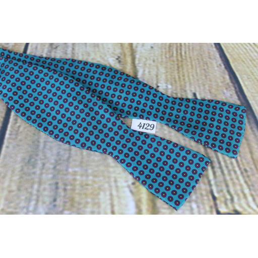 Vintage Self Tie Straight End Thistle Bow Tie Teal Repeat Pattern
