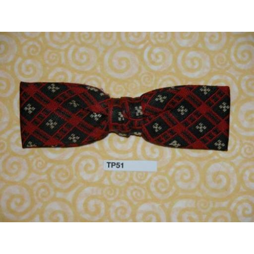 Vintage Clip On Bow Tie Red and Blue Pattern