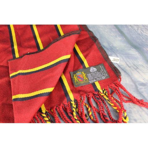Vintage German Pure Wool Burgundy Navy Gold Striped Scarf