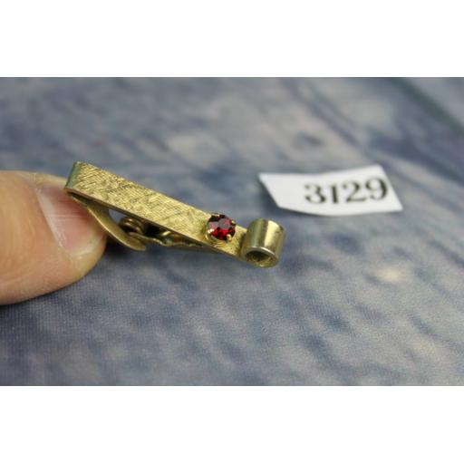 Vintage Gold Metal Short Scroll Red Glass Faceted Stone Tie Clip