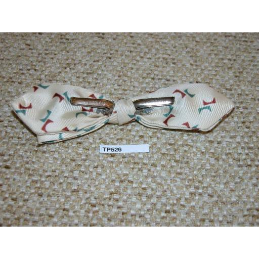 Vintage Clip On Pointed End Bow Tie Cream with Green & Burgundy Pattern