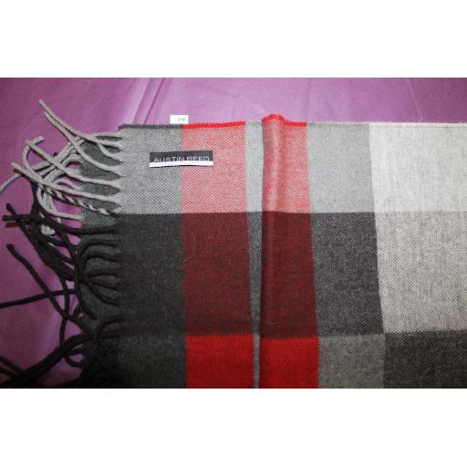 Austin Reed Mens Red Grey Large Check Fringed Scarf New