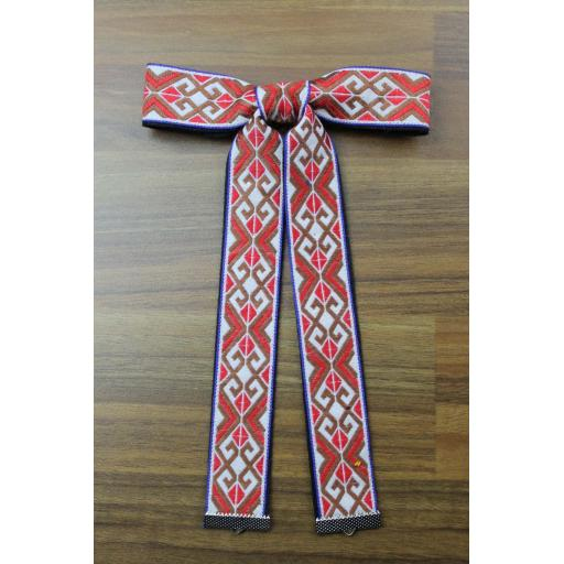Vintage Style New Aztec Red Brown White Blue Clip On Western/Cowboy/Kentucky Bow Tie